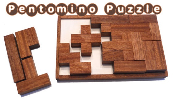 Pentomino Puzzle  Solid Mahogany Wood Puzzle  by HowellsProducts, $32.99
