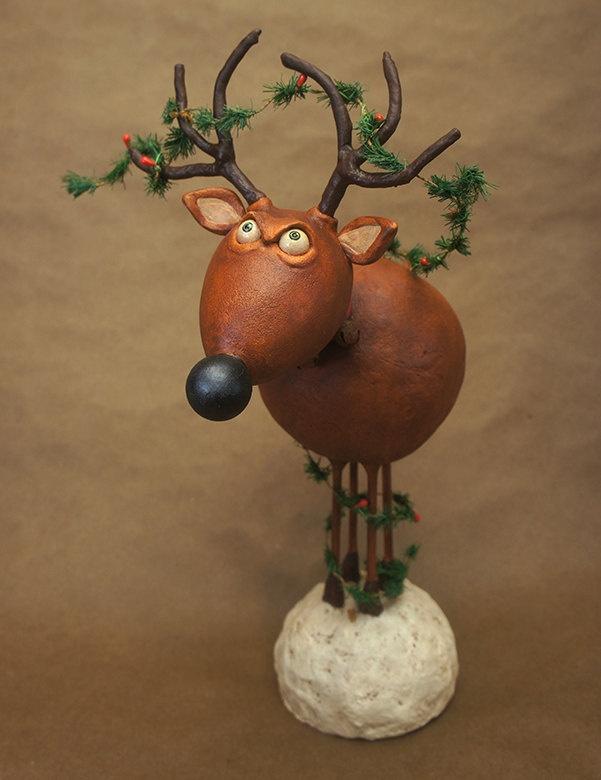 Grumpy Reindeer -  Chicken Lips Folk Art