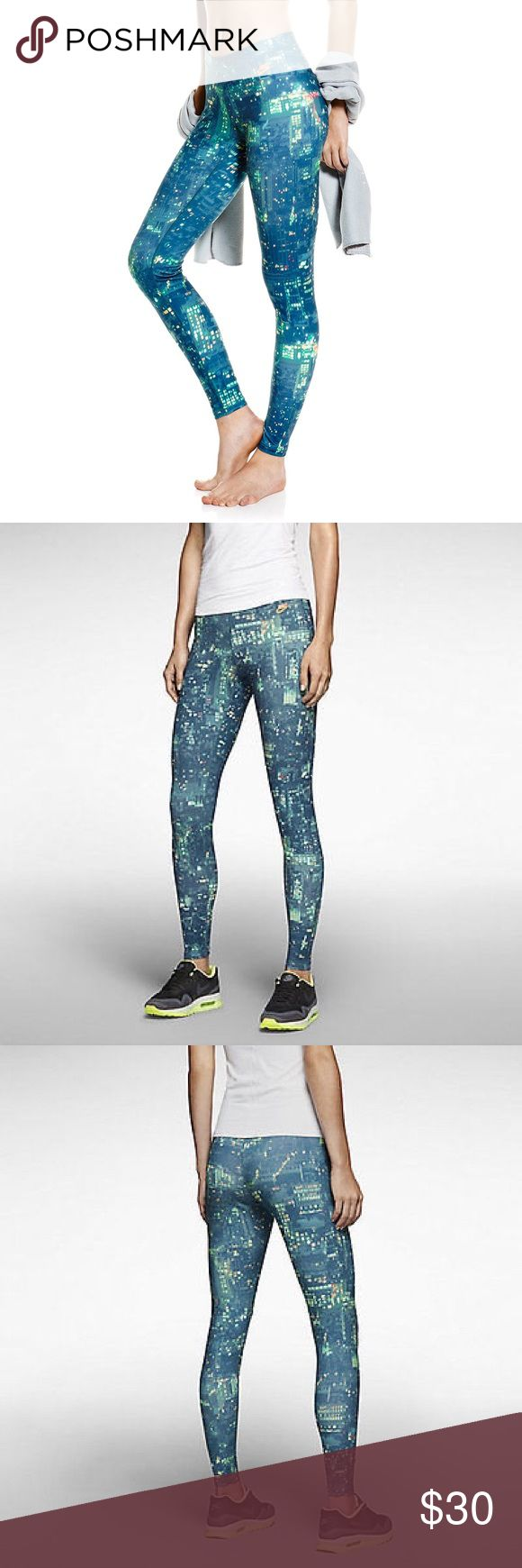 Nike Ru City Print Leggings Only worn once. No flaws. STRETCH COMFORT AND STAND-OUT STYLE. The Nike Printed Women's Leggings feature a bold allover print on stretchy French terry fabric for a head-turning look and body-hugging fit.  Benefits: Stretch waist for a snug, comfortable fit. Allover print for style.  Product Details: Nike corporate logo at left hip. Fabric: 94% polyester/6% spandex. Machine wash. Nike Pants Leggings
