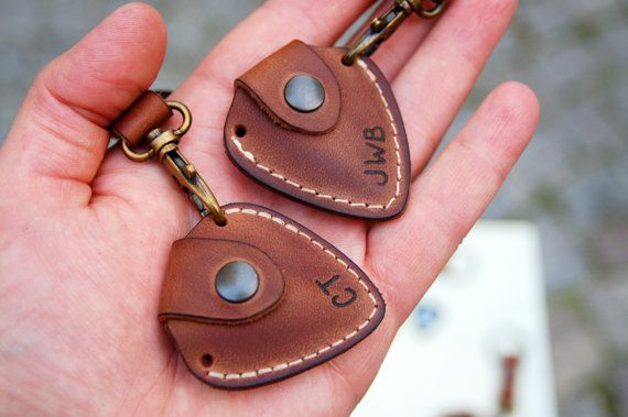 Personalized leather guitar pick holder with Initials and keychain - fathers day…