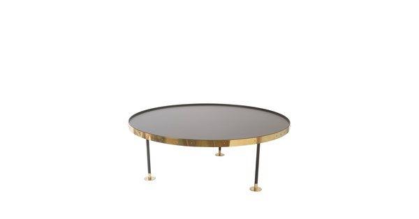 Soffbord 12 är tillverkad i svart laminat med bordskant och fötter i mässing.
