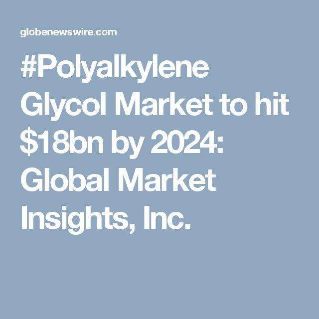#Polyalkylene Glycol Market to hit $18bn by 2024: Global Market Insights, Inc.