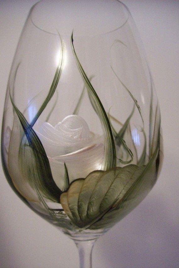 Handpainted White Roses Wine Glass Extra Large Dishwasher Safe