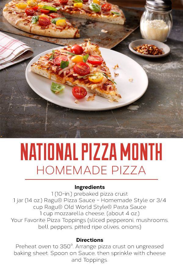 It's National Pizza Month! Not that you need an excuse to eat pizza...but kick off the celebration with this easy homemade pizza.