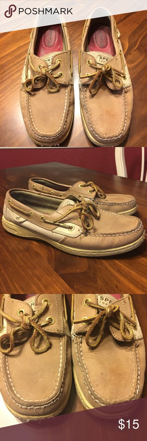 Sperry Top-Siders w/ Metallic Gold Gently used condition. They do show signs of wear as evident in the photos. There a few small water spots as shown in pics. Price reflects condition. Sperry Top-Sider Shoes