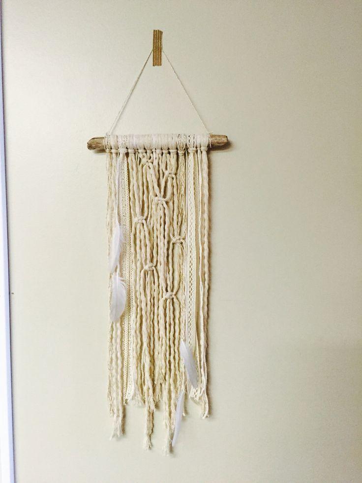 Macrame wall hanging by Fall & Found. #macrame #driftwood #feathers #boho