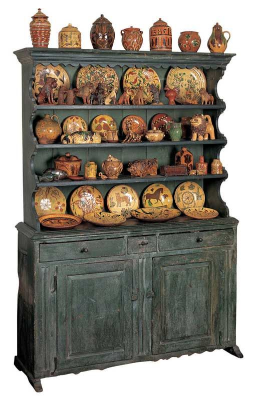 Schüssel Schranck - Probably Lancaster, Pennsylvania c. 1750–1780 Paint on pine and poplar, with iron hardware 85 x 60 7/8 x 20 1/4 in. American Folk Art Museum, gift of Ralph Esmerian, 2005.8.26