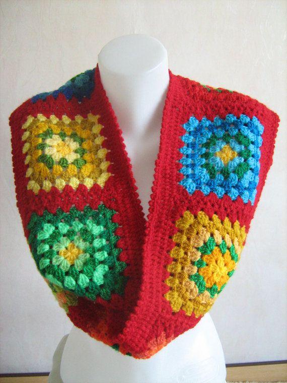 Pañuelo cuadrado de la abuela, del ganchillo, mantón rojo, largo y cálido, colorido, regalo dama, hechos a mano, patchwork, diseño único, estilo hippie invierno, magnífico,