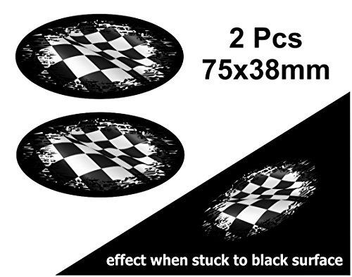 Lot de 2couleurs à Noir porté Grunge Design Ovale avec drapeau à damier Racing pour casque de moto Sticker voiture 75x 38mm: Fantastique…
