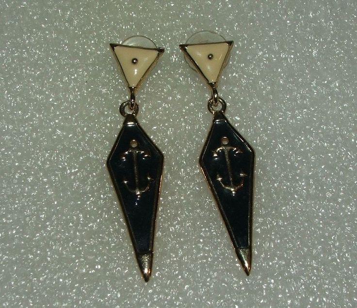 Women's Fashion Anchor Nautical Goldtone Blue Diamond Dangle Pierced Earrings #Unbranded #Dangle
