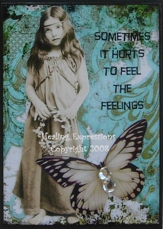 HURTS TO FEEL Altered Art Collage Therapy Childhood Trauma Ptsd Abuse Atc Aceo Print