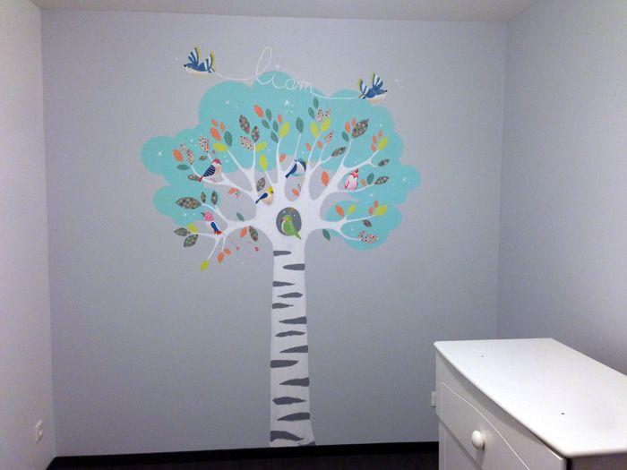 Fresque Décoratives murales chambre d'enfant arbre de vie et oiseaux