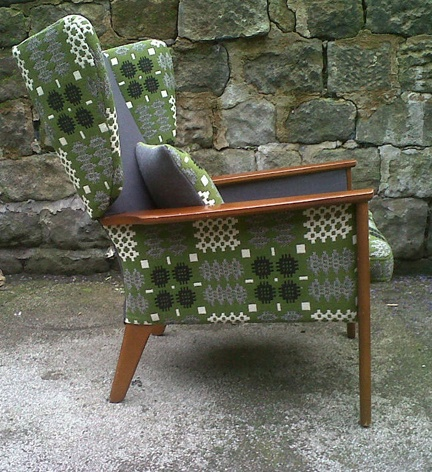 vintage wing-back armchair reupholsetered in vintage Welsh wool tapestry fabric by Eclectic Chair