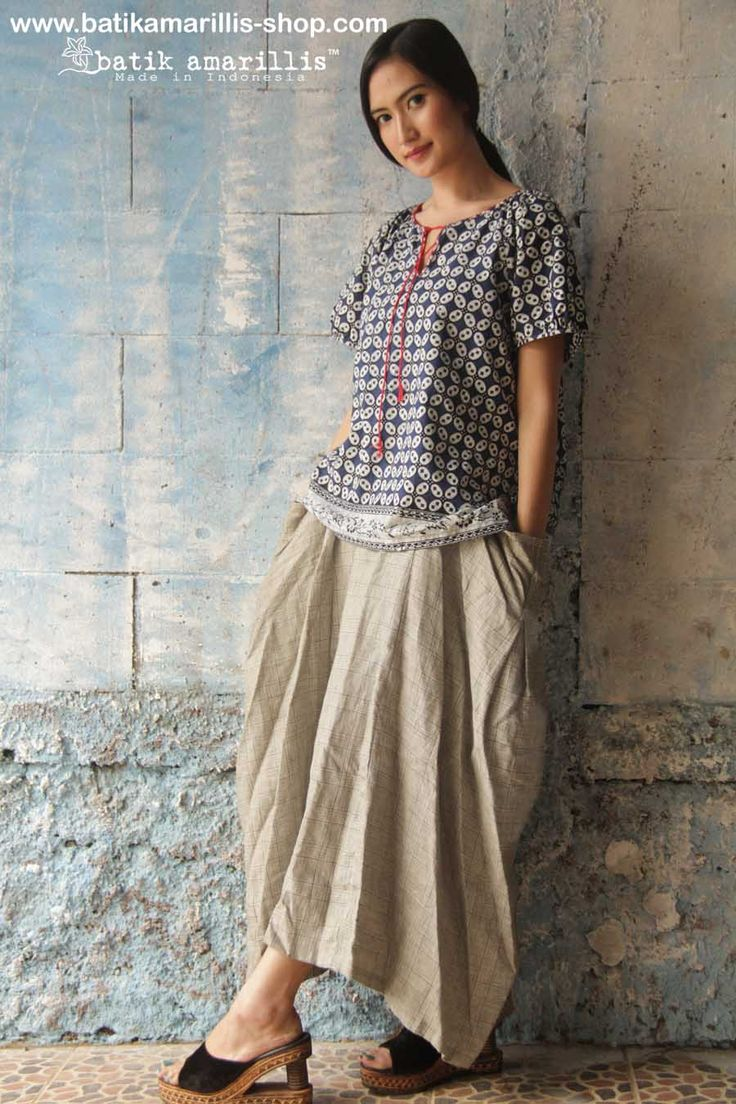 batik blouse and linen skirt