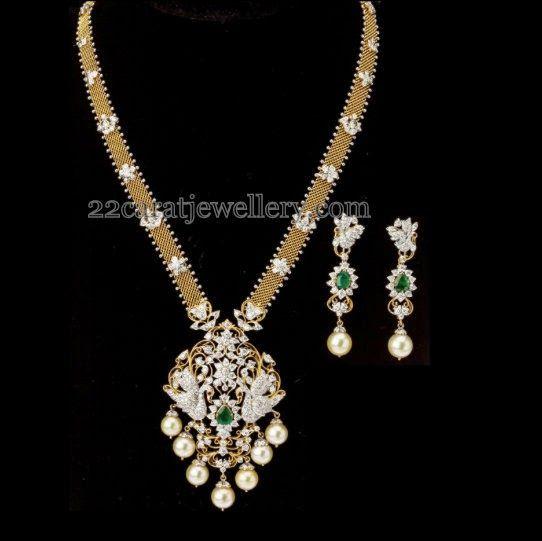 Indian Jewellery Designs: Diamond Peacock Set with Earrings