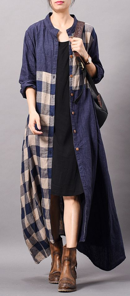 DIY blue plaid cotton clothes Omychic stand collar patchwork Traveling spring Dr…