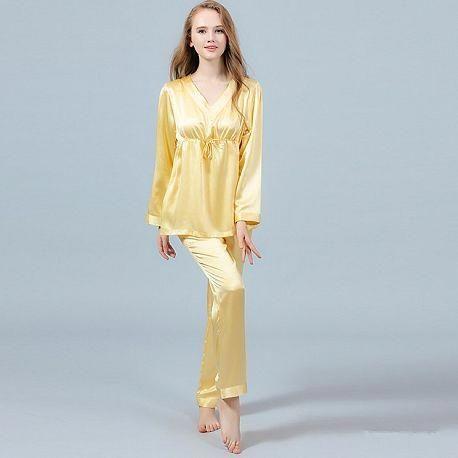 22 Momme Silk Pajamas Set Pullover Shirt   Long Pants  silklingerie ... 8becbebfb