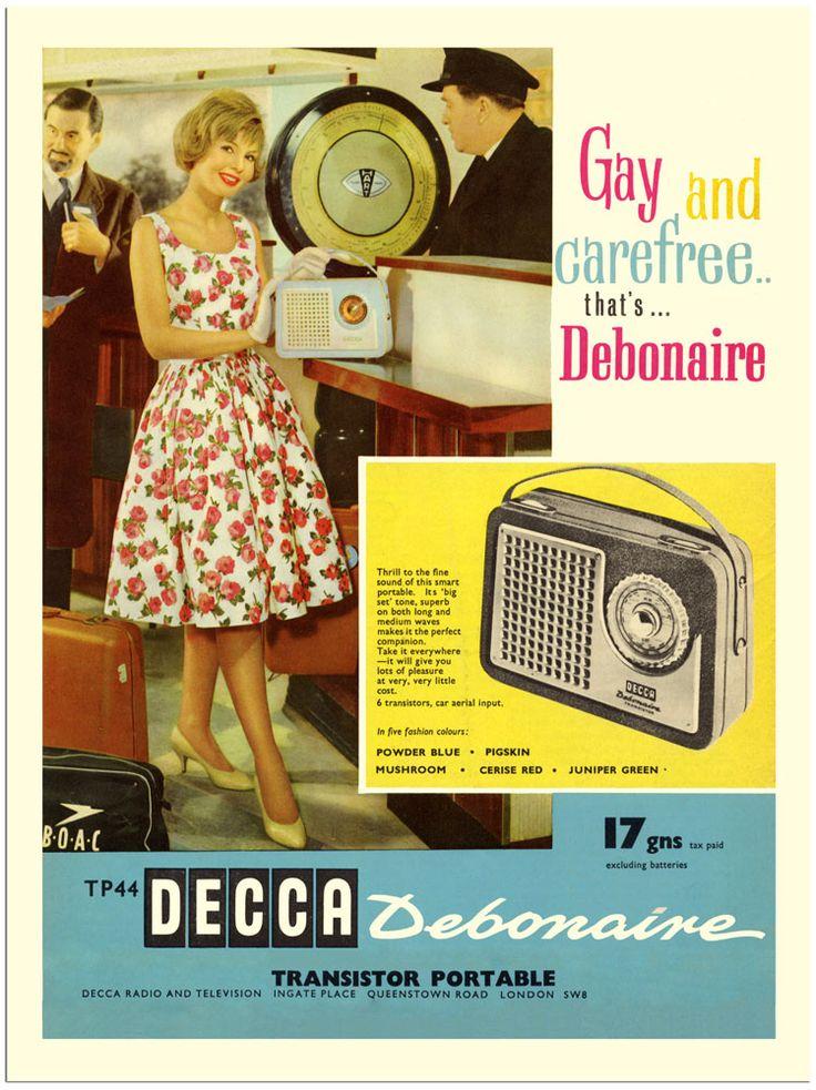 Decca Tp44 Debonaire Transistor Radio Advert 1960