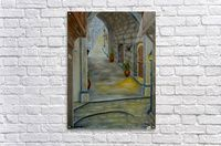 Winter, town, archway, buildings, night, scene, fine art, oil painting, decor items, acrylic print, for sale