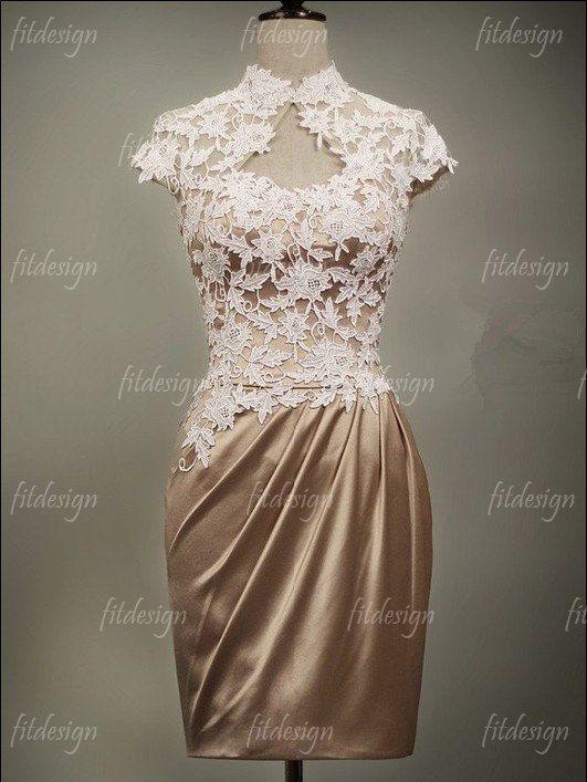 lace bridesmaid dress short bridesmaid dress brown by fitdesign