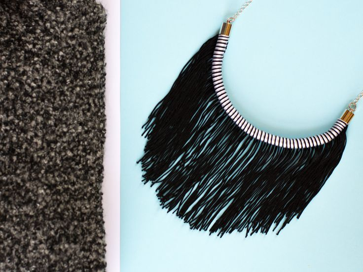 #deuxsoray #necklace #ropenecklace #blackwhite #blackandwhite #fringe #partynecklace #statementnecklace #handmade #jewelry #fabricnecklace #rope #cottonrope #silver #sisters #fashion #styling #design #original #brand