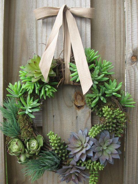 "12"" door wreath artificial succulent wreath grapevine moss rustic green plants succulents door ribbon cabin summer spring. $87.50, via Etsy."