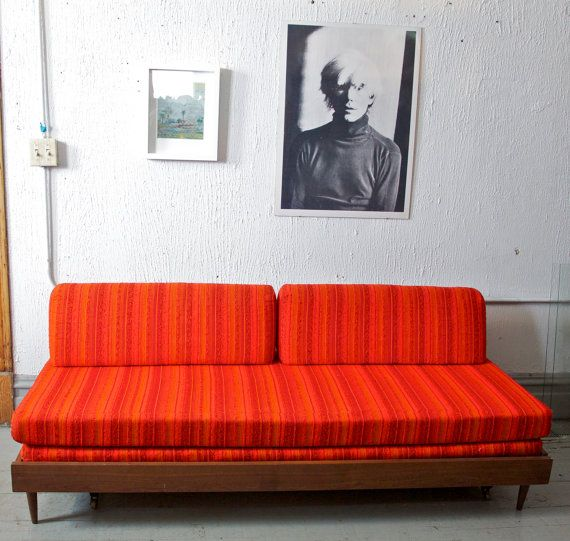 Reserved mid century modern retro orange daybed sofa for Sofa bed 60s