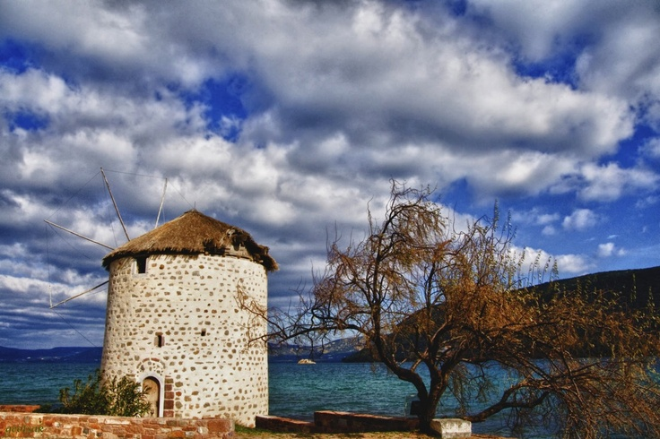 Old windmill at Geras' gulf, Perama, in Lesvos