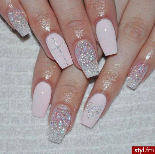Glitter Nails Blush Pink Weddingnailsideas Wedding Nails Ideas