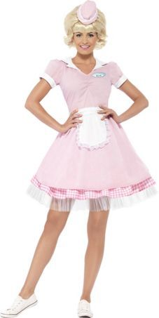 Womens 50's Diner Girl Costume - Womens 50's Halloween Costumes Any time Costumes