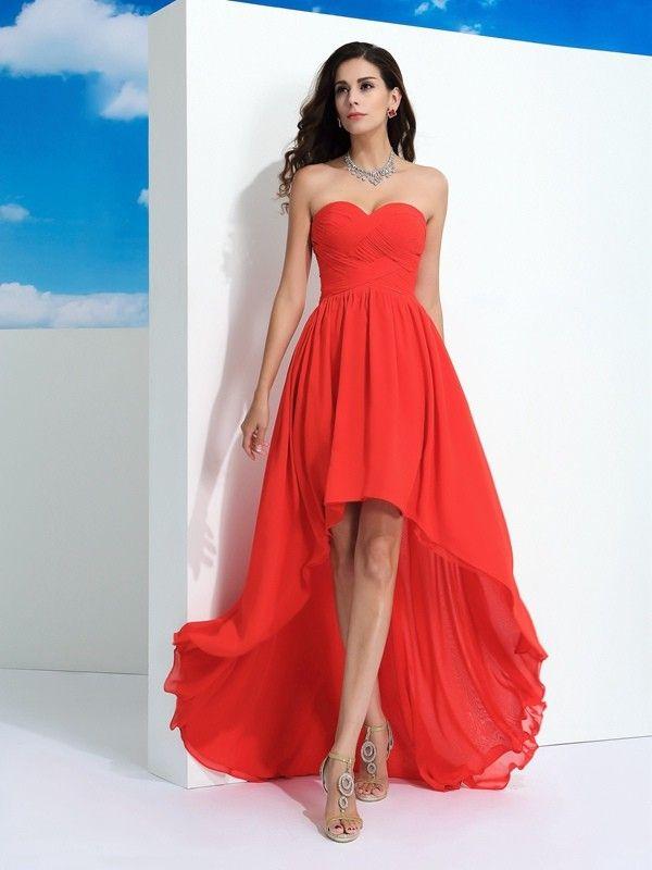 A-Line Princess Sweetheart Pleats Sleeveless Asymmetrical Chiffon Dresses  PromEver. Abschlussball KleiderAbschlussball ... 67dc3861e6