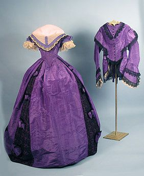 Silk day to evening dress, 1860's vintage. Wear the two-piece as a day dress, then take off the top for an evening look!