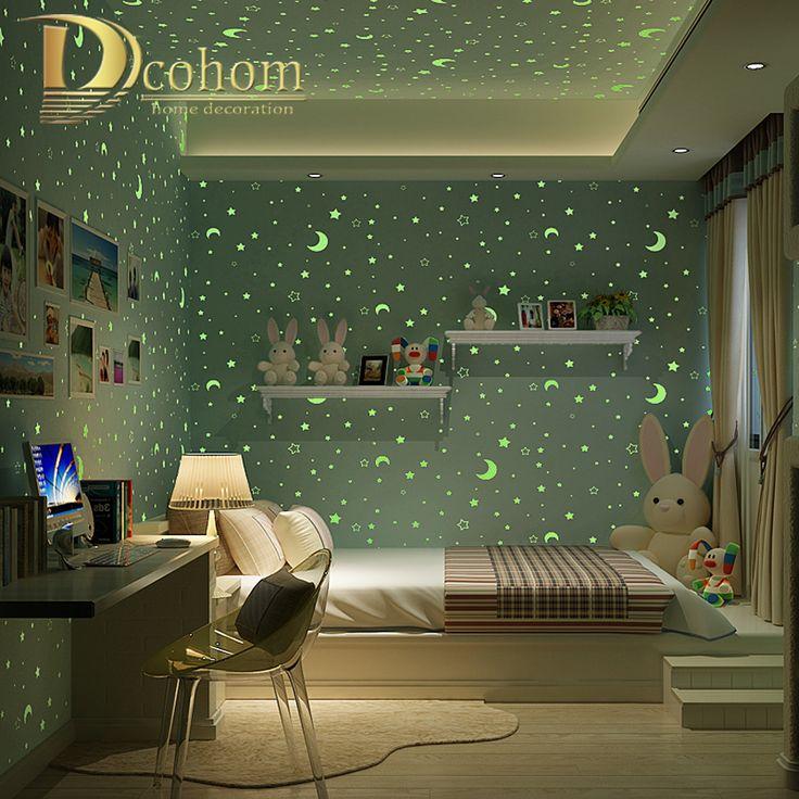 3D Световой Звезды И Луна Для Мальчики Девочки Спальня Обои для Стен Звездное Тематические обои Home Decor For Kids Room(China (Mainland))
