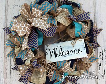 Burlap Wreath, Spring, Summer Wreath, All Season, Navy Blue, Turquoise, Welcome Sign, Chevron