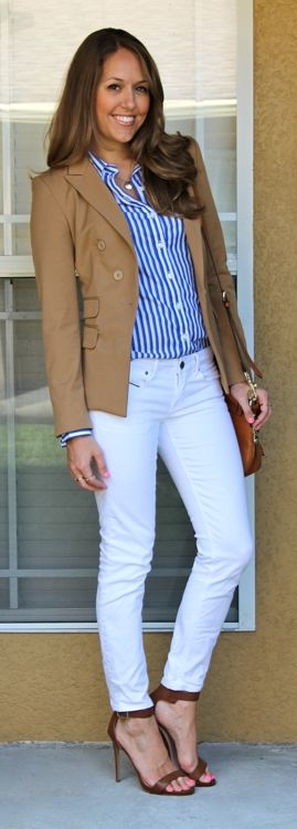 White jeans camel blazer outfit. Blue striped shirt needs to be more navy than bright blue.