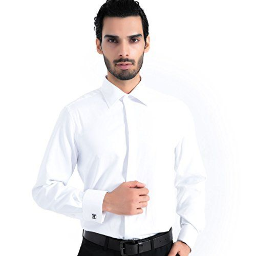 Mens Shirts French Cuff Solid Regular Fit Long Sleeve Dress Shirts With Metal Cufflinks And Metal Collar Stays