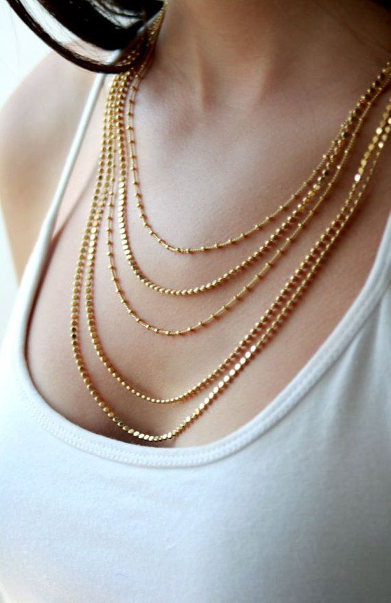 multi-chain necklace worn gold necklace gold chain necklace layered necklace chain necklace chunky gold necklace Gold necklace