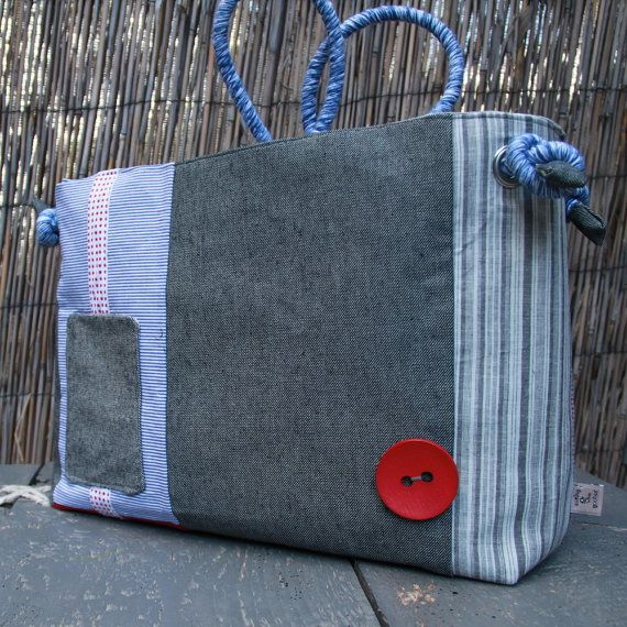 "Tote bag made from recycled suit trousers and brand new fabrics, by ""Eating the Goober"""