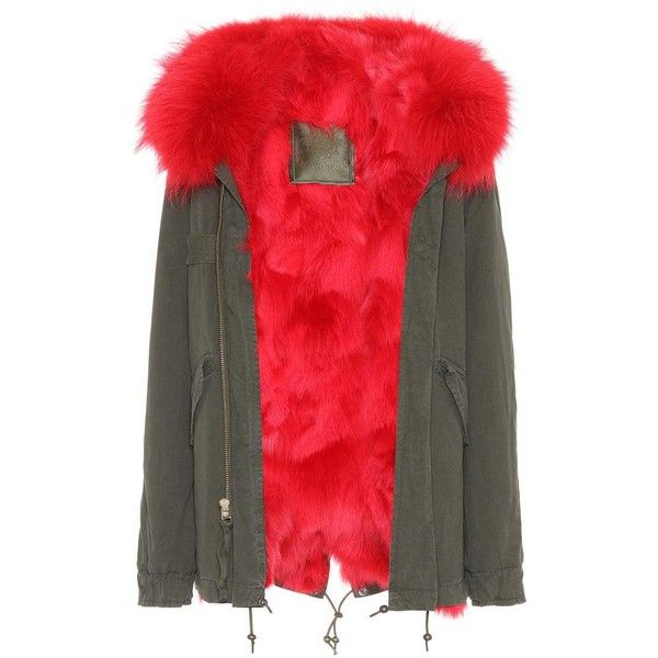 Mr & Mrs Italy London Fur-Trimmed Parka ($4,965) ❤ liked on Polyvore featuring outerwear, coats, green, green coats, fur trim parka, red parka coat, fur-trimmed coats and red parkas
