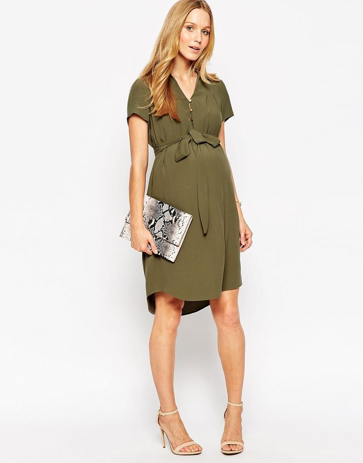 Probably wear pants with this, but like the long shirt look.  ASOS Maternity Shirt Dress With Drape Front- Spring color would be better