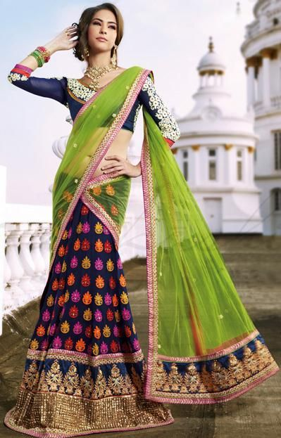 $155.68 Green and Blue Faux Georgette Resham and Sequins Work Lehenga Saree 26336
