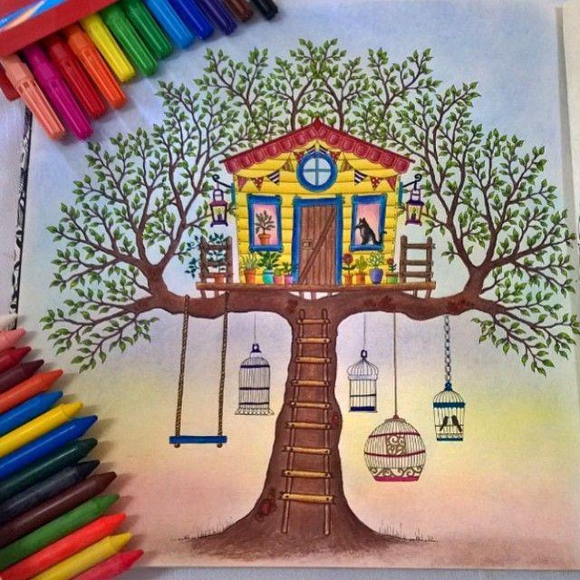Jardim Secreto Casa Na Arvore Johanna Basford Inspiration Color Secretgarden Secret Garden Coloring BookTreehouseColoring