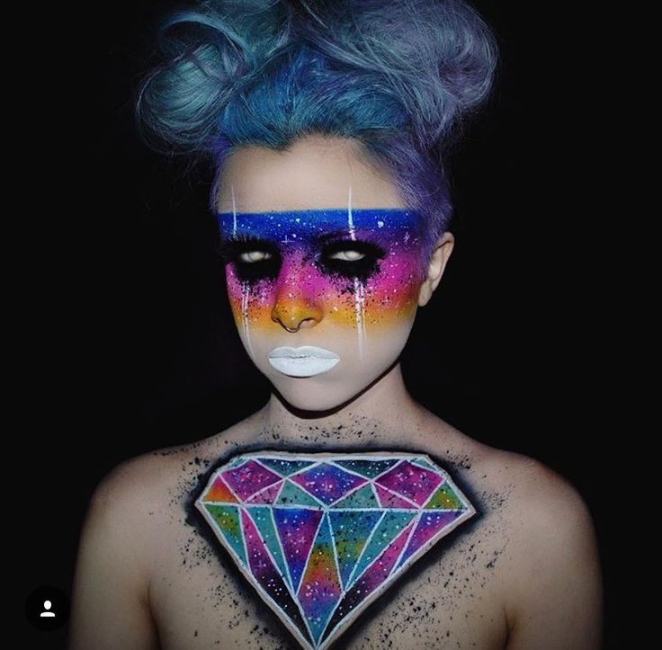 Neon abstract tumblr diamond makeup