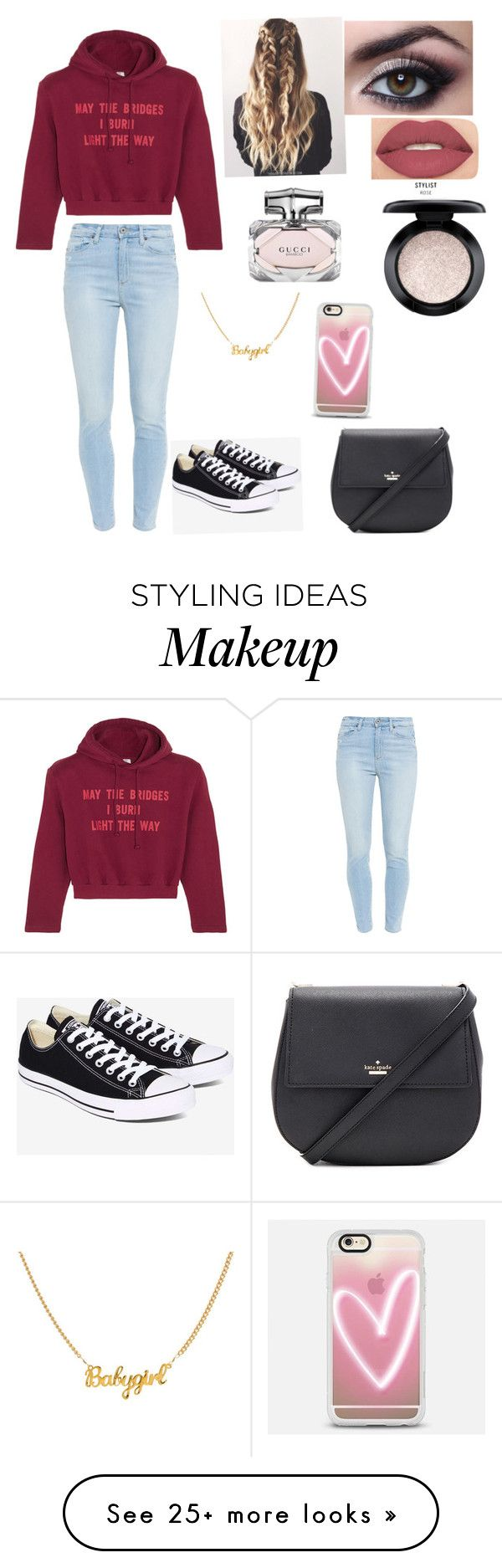 """""""Untitled #1"""" by sillssierra on Polyvore featuring Vetements, Paige Denim, Converse, Smashbox, MAC Cosmetics, Gucci, Casetify and Kate Spade"""
