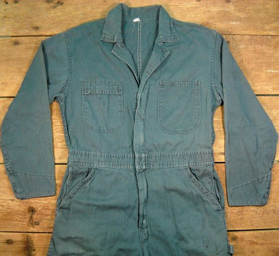 Vintage Men's 1950's Mechanic Coveralls S/M by Rustology on Etsy, 60.00