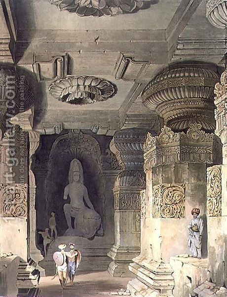 Interior of the Cave Temple of Indra Subba at Ellora by (after) Grindlay, Captain Robert M.
