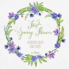Dipinto a mano di alta qualità Corona dellacquerello con i primi fiori di primavera   Può essere utilizzato per: – stampato carta cancelleria (tag,