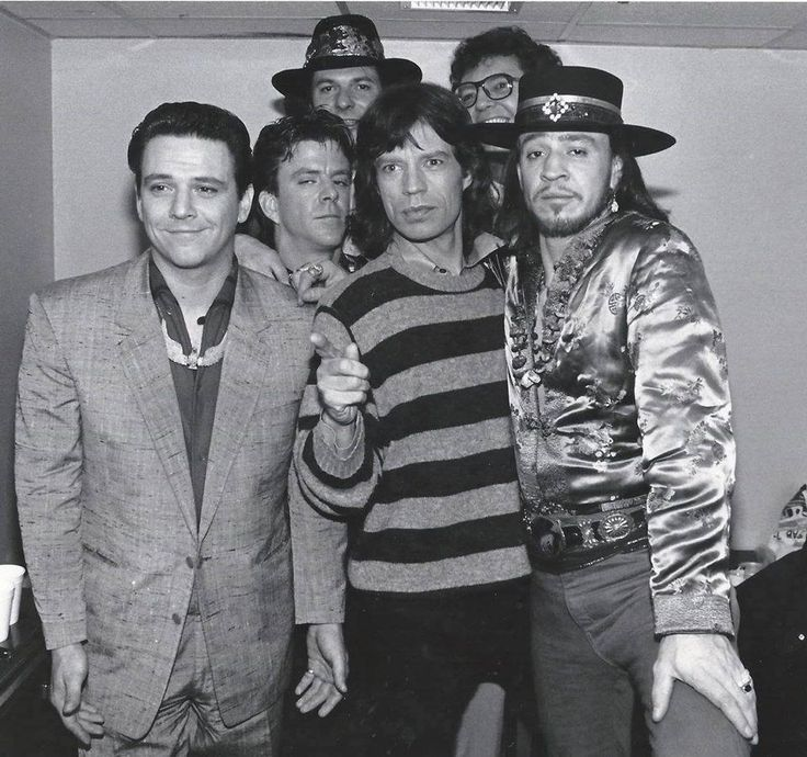 Stevie Ray Vaughan, Jimmie Vaughan, Chris Layton, Tommy Shannon, Reese Wynans and Mick Jagger