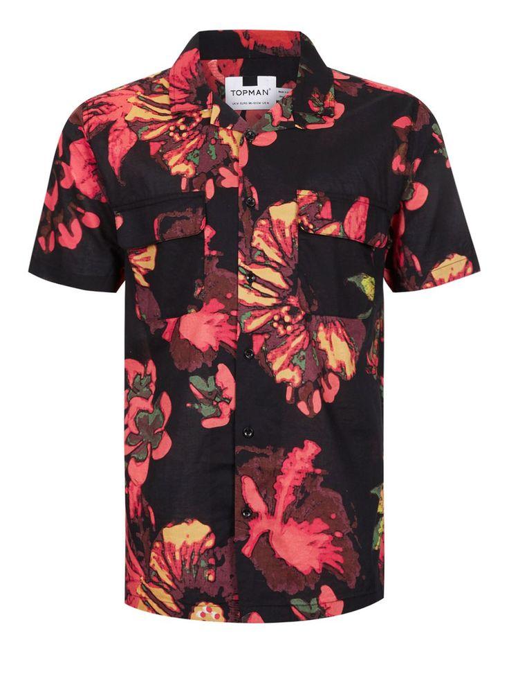 Chemise décontractée noire à manches courtes avec motif floral et col à revers - Chemises Homme - Vêtements - TOPMAN FRANCE