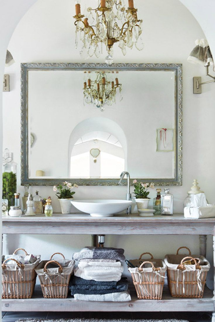 French provincial traditional bathroom sacramento by lee - An Old Sideboard Is Refinished And Fitted With A Round Vessel Sink Spacesfrench Country